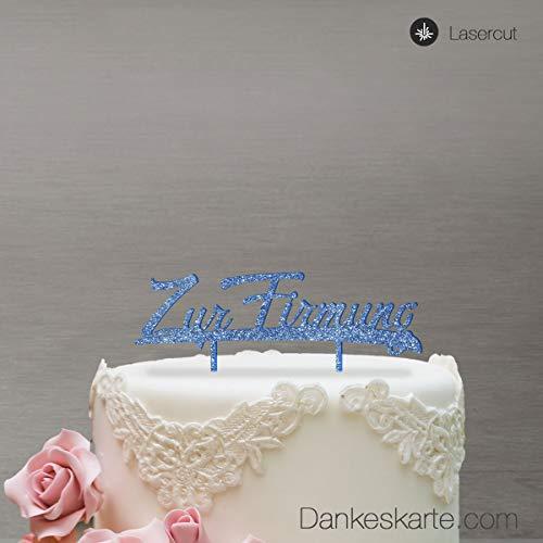 Dankeskarte.com Cake Topper Zur Firmung - für die Torte zur Firmung - Blau Glitzer - XL - Tortenaufsatz, Kuchen, Tortendeko, Tortenstecker, Kuchanaufsatz, Kuchendeko