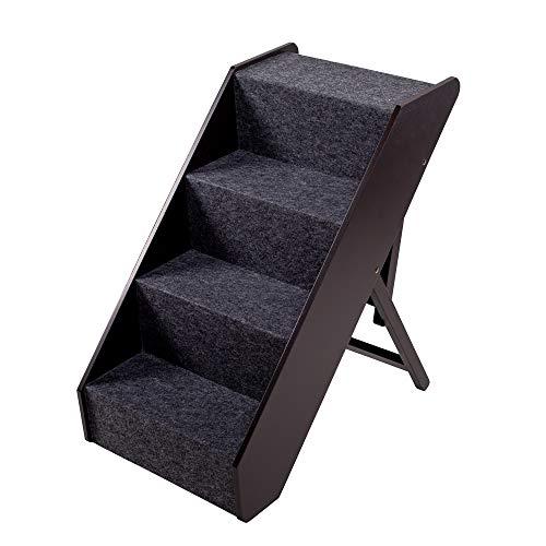 UPP Hundetreppe Premium | Massiv aus FSC Holz und höhenverstellbar| 4-stufige Treppe für Hunde bis 70 kg | Klappbare Hunderampe für Auto und Innenbereich [Braun]