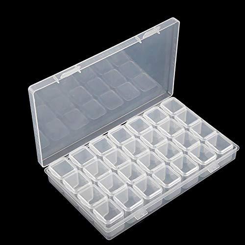 Mwoot 28 Fächer Kunststoff Dosen, Diamant Stickerei Box, Diamant Malerei Nagel Strass DIY Kunst Handwerk Storage Organizer Schmuckschatulle Werkzeugcontainer, Diamond Painting Boxes