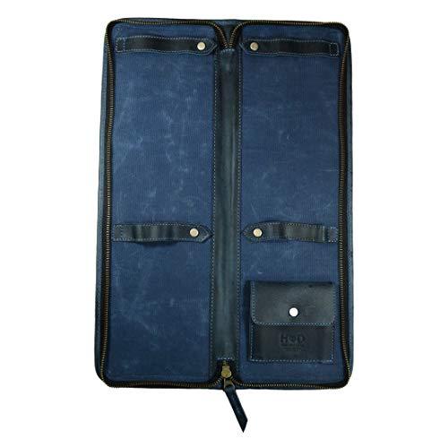 Hide & Drink, Waxed Canvas Necktie Organizer, Cuff Link Tie Clip Case, Travel Essentials, Handmade :: Blue Mar