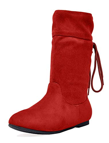 DREAM PAIRS Girls Little Kid Klace Red Faux Suede Knee High Boots Size 3 M US Little Kid
