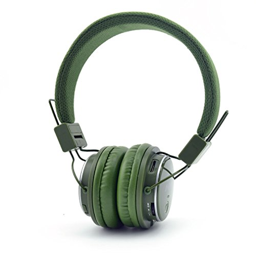 Q8 Multifunctional Foldable Wireless Headphones with Microphone, Micro SD Card Player and Built-in FM Radio -Army Green