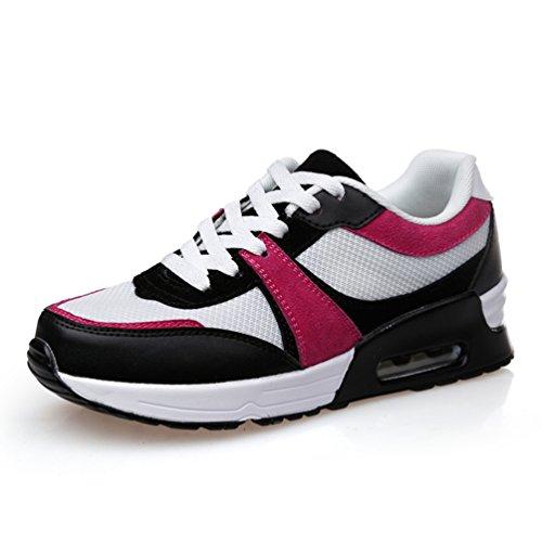 LFEU Femme Chaussure Compensé pour Sport Outdoor Bulle d'air Maille Running Confortable Pied Mince Confortable Blanc Rouge 40(Recommandez la Taille Un de Plus)