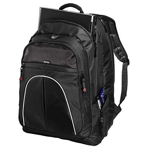 Hama Laptop-Rucksack (für Geräte bis 44cm (17,3 Zoll) Vienna, Laptopfach, herausnehmbare Laptop-Hülle, gepolstert, Tragegriff, Seitentaschen, regendichter Reißverschluss) schwarz