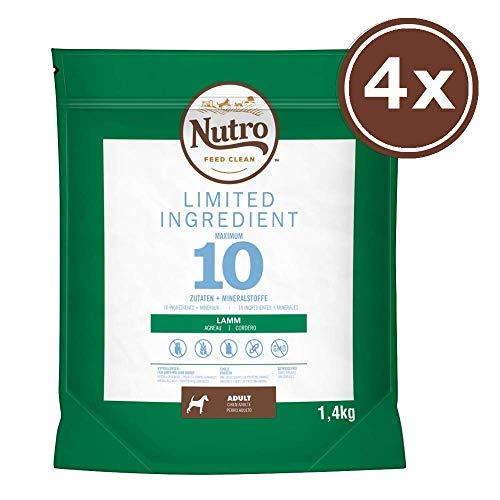 Nutro Hundefutter Trockenfutter Limited Ingredient Adult 1+ Mit Lamm, 4 Beutel (4 x 1,4kg)