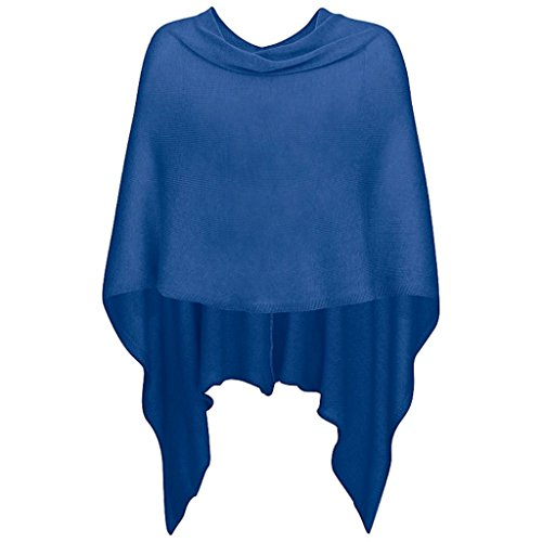 Mississhop 221 Damen Poncho Cape Überwurf Strickjacke feiner weicher Strick Pullover Herbst Winter One Size Royalblau