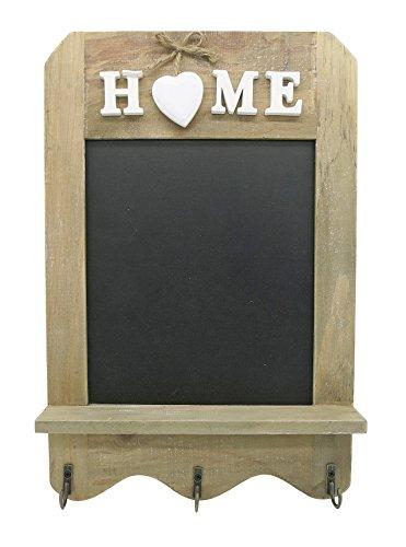 Stijlvol schoolbord in vintage stijl - decoratief schoolbord met haken en plank - decoratief krijtbord in landhuisstijl - leisteenbord formaat 33 x 22 cm