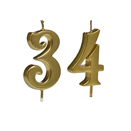 MMJJ Gold 34th Birthday Candles, Number 34 Cake Topper for Birthday Decorations