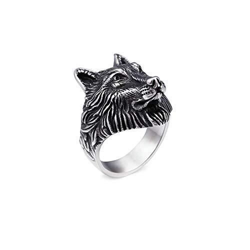 Aimrio Anillos de Titanio Plata Anillo Cabeza de Lobo Dominante Anillos Goticos Tamaño 17