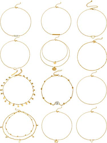 Hicarer 12 Pieces Gold Layered Choker Necklace Pendant Layering Adjustable Chain Necklaces Set for Women Girls (Multi-Style B)