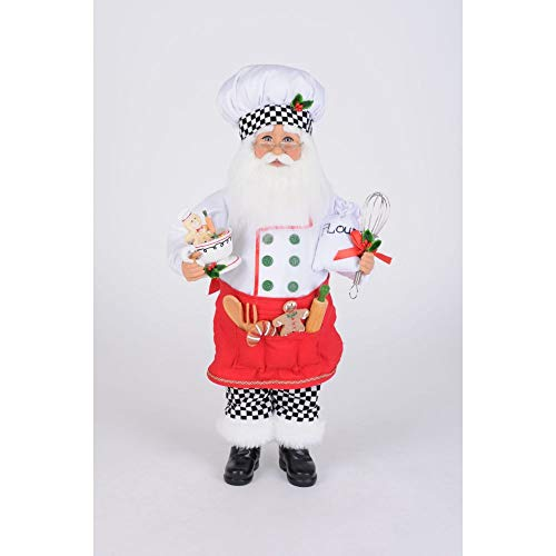 Karen Didion Originals Baking Cookies Santa Figurine, 17 Inches - Handmade Christmas Holiday Home Decorations and Collectibles