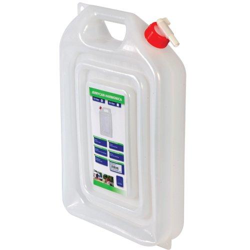 Schmal-Kanister, 16l, für Trekking, Camping oder Freizeit, lebensmittelecht - für Trinkwasser geeignet, stabiler Kunststoff wird nach Befüllen breiter inkl. abschraubbarem Auslaufhahn mit Tragegriff.
