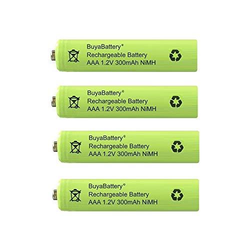 BuyaBattery AAA 300mAh 1.2v NiMH Rechargeable Solar Light Batteries for Garden Solar Lights (4 Pack)