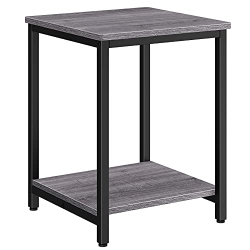 Homemaxs Side Table, 2 Tier Small Side Table Living Room, Bed End Table with Storage Shelf & Adjustable Table Leg, Square Rustic Night Stand for Sofa, Small Spaces, Bedroom, Easy Assembly