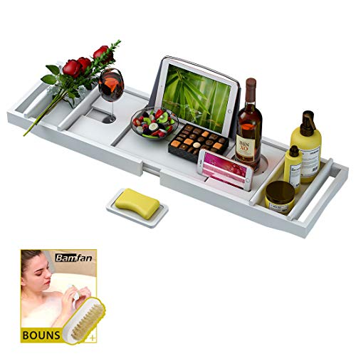 Bathtub Caddy Tray for Luxury Bath - Bamboo Waterproof Expandable Bath Table Over Tub with Wine and Book Holder and Free Soap Dish (White)