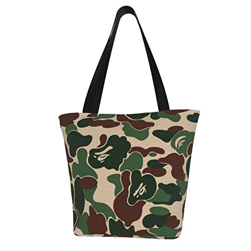 Tote Bag Black And White Bape Camo Kitchen Reusable Grocery Bags Canvas Shopping Bag for Outdoor 11X13 inch