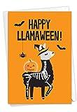 NobleWorks - Funny Happy Halloween Card with Envelope - Spooky Kids Notecard, Animal Humor and Puns - Llamaween C7053HWG