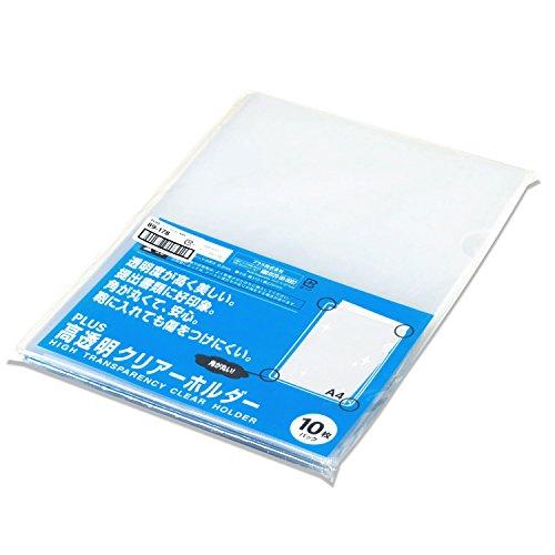 プラス 高透明カラークリアホルダー A4 クリア 1箱(600枚) ファイル 89178