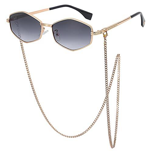 SHEEN KELLY Hexágono Cadena irregular Gafas de sol Retro Pequeños vidrios de polígono de moda
