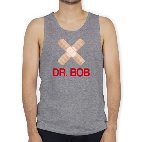 Shirtracer Karneval & Fasching - Dr. Bob Kostüm Pflaster - XL - Grau meliert - Arzt - BCTM072 - Tanktop Herren und Tank-Top Männer