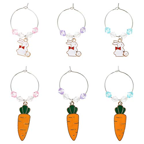 ABOOFAN 6pcs Party Wine Glass Charms Rings Easter Bunny Rabbit Glass Drink Markers Tags