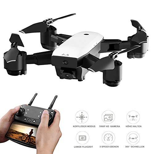 Flashbee F85 Drohne mit Kamera für Erwachsene 1080P,FPV Live Video,EIN Schlüssel zum Abheben / Zurück,App, Gestenfoto,Faltbarer RC Quadcopter und Anfänger,3D Flips, Schwerkraftsensor,Lange Flugzeit