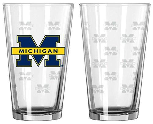 Boelter Brands Michigan Wolverines Satin Etch Pint Glass Set