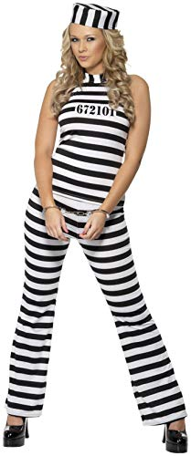 Smiffys, Damen Süßer Sträfling Kostüm, Oberteil, Hose und Hut, Größe: M, 33723