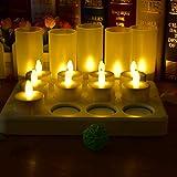 HL Wireless wiederaufladbare Teelichter, flammenlose Kerzen 3.5 Stunden Aufladen für 77 Stunden Dauerhaftes, flackerndes Kerzen-LED-Licht mit ferngesteuerten Tischlampen (warmweiß, 12er-Packung)