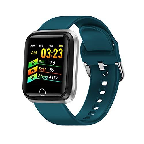 YDL Moda Reloj Inteligente Mujer Ritmo Cardíaco Presión Arterial Ip67 Impermeable Impermeable Deportes Multifuncional Fitness Mujer Inteligente Reloj (Color : Silver Blue)