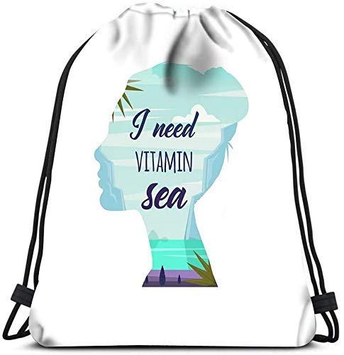 IUBBKI Mochila con cordón, bolsas Necesito vitamina Mar Mujer pensando en el mar Vacaciones de verano Doble exposición Naturaleza Bolsas de hombro portátiles Viaje Deporte Bolsa de almacenamiento Bol