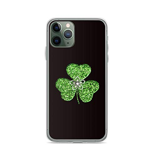 Faux Green Glitter Shamrock with A Flower Phone Case Compatible with iPhone 12 11 X Xs Xr 8 7 6 6s Plus Mini Pro Max Samsung Galaxy Note S9 S10 S20 Ultra Plus Mini