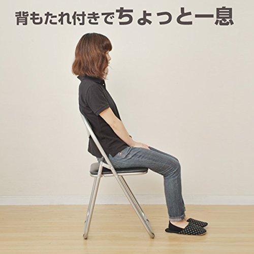 山善折りたたみパイプ椅子幅44.5×奥行47.5×高さ79.5cm持ち運び用取っ手付き軽量完成品シルバー/ブラックYZX-08SB
