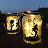 Alritz 2 Pack Solar Lantern Fairy Lights, Outdoor Hanging Frosted Glass Mason Jar Lights for Tree, Table, Yard, Garden, Patio, Lawn, Outdoor Decorations, Valentines Day Birthday Party Decorations
