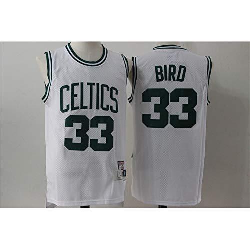 NBA Larry Bird # 33 Boston Celtics, Classic Retro Confortevole/Luce/Traspirante Ricamati Mesh Sport T-Shirt/Bicchierini regolati, Unisex Fan Swingman Jersey,B,S