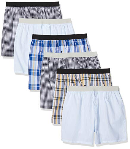 Maglev Essentials Bdx002m6 boxershorts, Mehrfarbig (Yellow, Black Mix Check Print,Light Blue Stripes), 85 (Herstellergröße: X-Large), 6er-Pack
