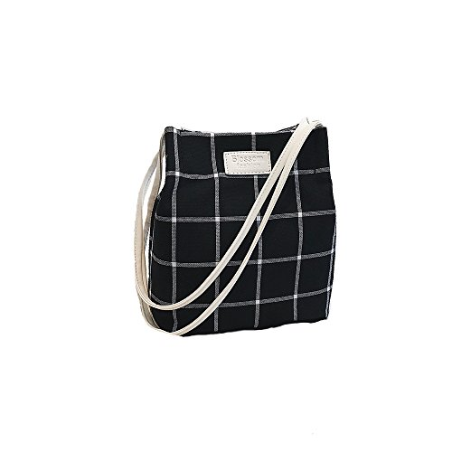Flying. Frauen Schulter Messenger Bag einfache Wilde kleine frische Plaid Bucket Bag Canvas Tasche