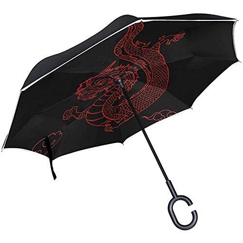 Alice Eva Dark Red Dragon Flag Reverse Regenschirm für Car Travel Double-Layer Inverted Umbrella
