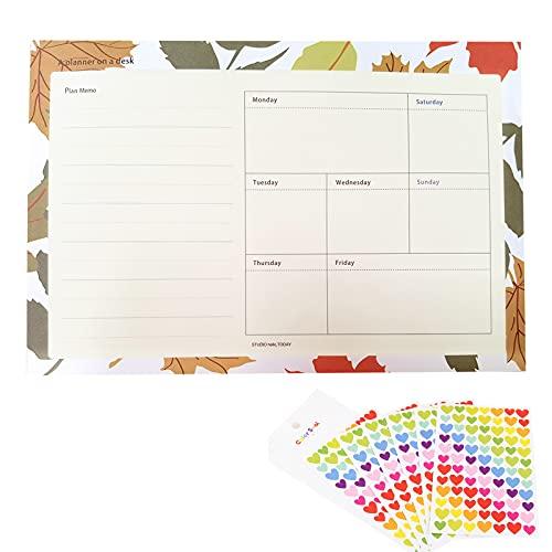 Wochenplaner Block (50Blatt), mini weekly planner 12.8 * 18.5cm,schreibtischunterlage papier mit To Do Liste, für lernplan, essensplaner woche Arbeitsplan (Hergeben aufkleber)