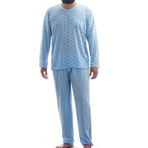 Henry Terre pyjama avec Henley col et broderie - Bleu - Medium