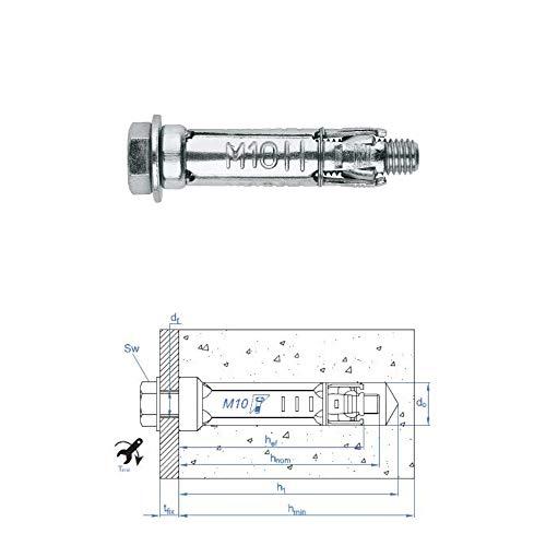 Stahldübel M12 x 80 für schwere Lasten, 10 Stück
