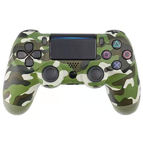 ERGGQAQ Gamepad Inalámbrico Bluetooth, Controlador PS4, con Barra luz LED y Panel Táctil, para Playstation 4 Pro/PC/Teléfono Celular/Tableta/Switch/Joystick Juego DualShock 4,Camo Green