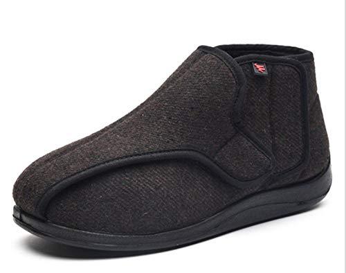 Fit en zacht Comfortabel bovenwerk, met fleece verbrede klittenbandschoenen, dikke, brede en gezwollen vervormingsdiabetesschoenen - UK5.5_brown, aanraaksluiting met riempje Gemakkelijk te sluiten laarslip