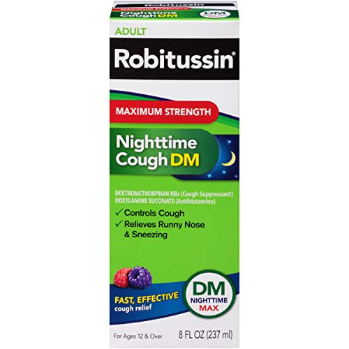 Robitussin Maximum Strength Nighttime Cough DM, Cough Medicine for Adults, Berry Flavor – 8 Fl Oz
