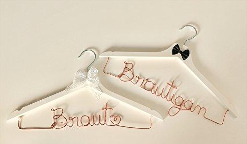 Kleiderbügel-Set aus Draht Braut & Bräutigam perfekt für Ihre Hochzeit, Braut, Bräutigam, Bügel, Hochzeit (kupfer)