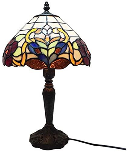 Lámpara de mesa de dormitorio de estilo tiffany, lámpara de escritorio creativo Retro diseño de la sala de estar caliente 15 pulgadas alta mini decoración luz e26-cálida luz