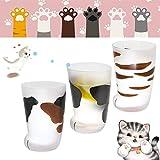 Taza de cristal de leche esmerilada para niños, diseño de gato con pata de gato y garra estampada para café, para hombres y mujeres, regalo de cumpleaños (A+B+C)
