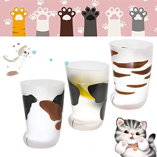 Taza de cristal de leche esmerilada para niños, diseño de gato con...