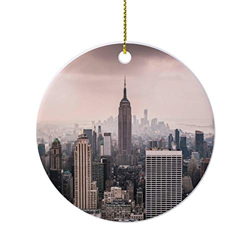 happygoluck1y New york city manhattan empire state building Ornaments for Christmas Tree,Novelty Round Porcelain Ornaments 3',Keepsake Christmas Ornaments,Farmhouse Christmas Decor,for Home