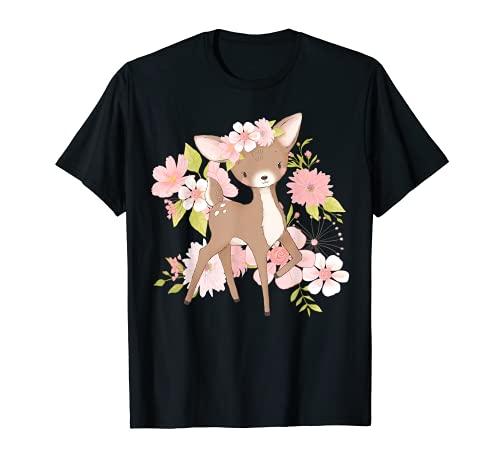 Kinder Reh Rehkitz Rothirsch Rotwild Blumenmotiv T-Shirt